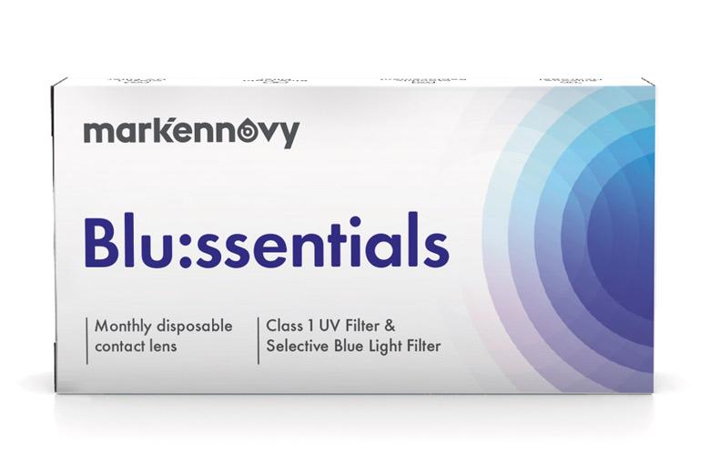 [[pt]]Blu:ssentials é uma lente de contacto de silicone hidrogel que combina um filtro UV de Classe I com um filtro selectivo de bloqueio de luz azul, para proteger o olho contra mais de 99% dos raios UVB, 93% de raios UVA e 14% da luz azul-violeta nociva. Esta gama selectiva de parâmetros oferece aos usuários com prescrição dentro dos parâmetros standard, a protecção aconselhada contra a luz ultravioleta e a luz azul do sol e da ilumunação LED em ambito doméstico, nos espaços públicos e dispositivos móveis.