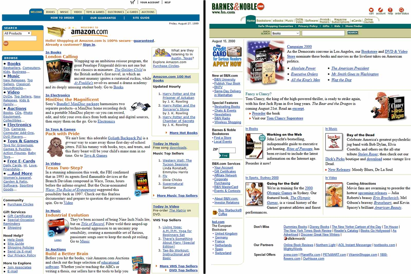 Amazon & Barnes & Noble homepages in 2000