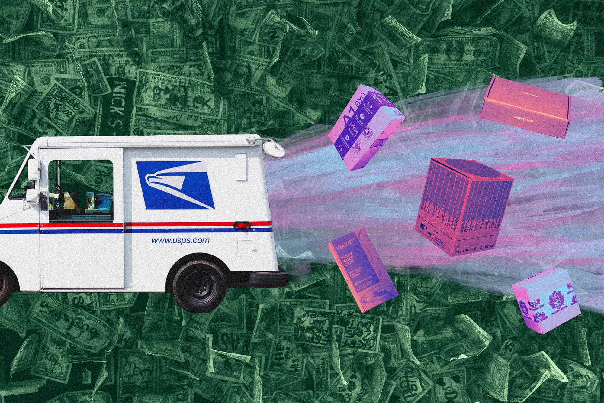Collage of USPS truck and boxes flying out the back