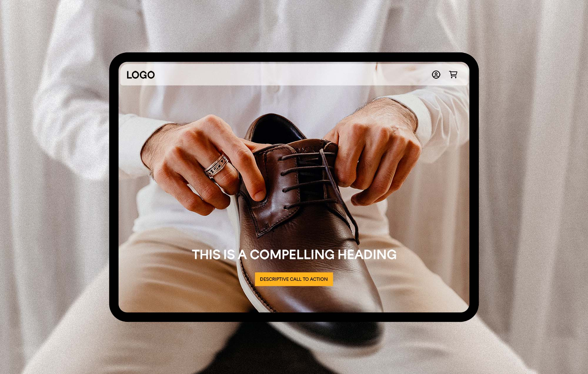 Image of man putting on shoe is outlined by iPad and eCommerce user interface