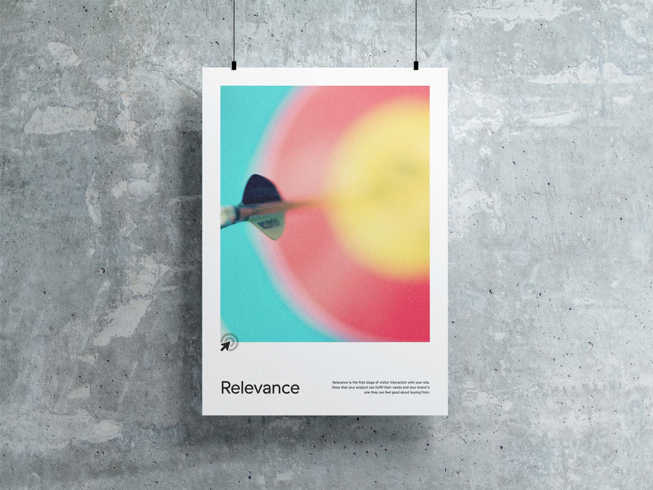 Relevance poster with a blurry target in the background and a dart near the center