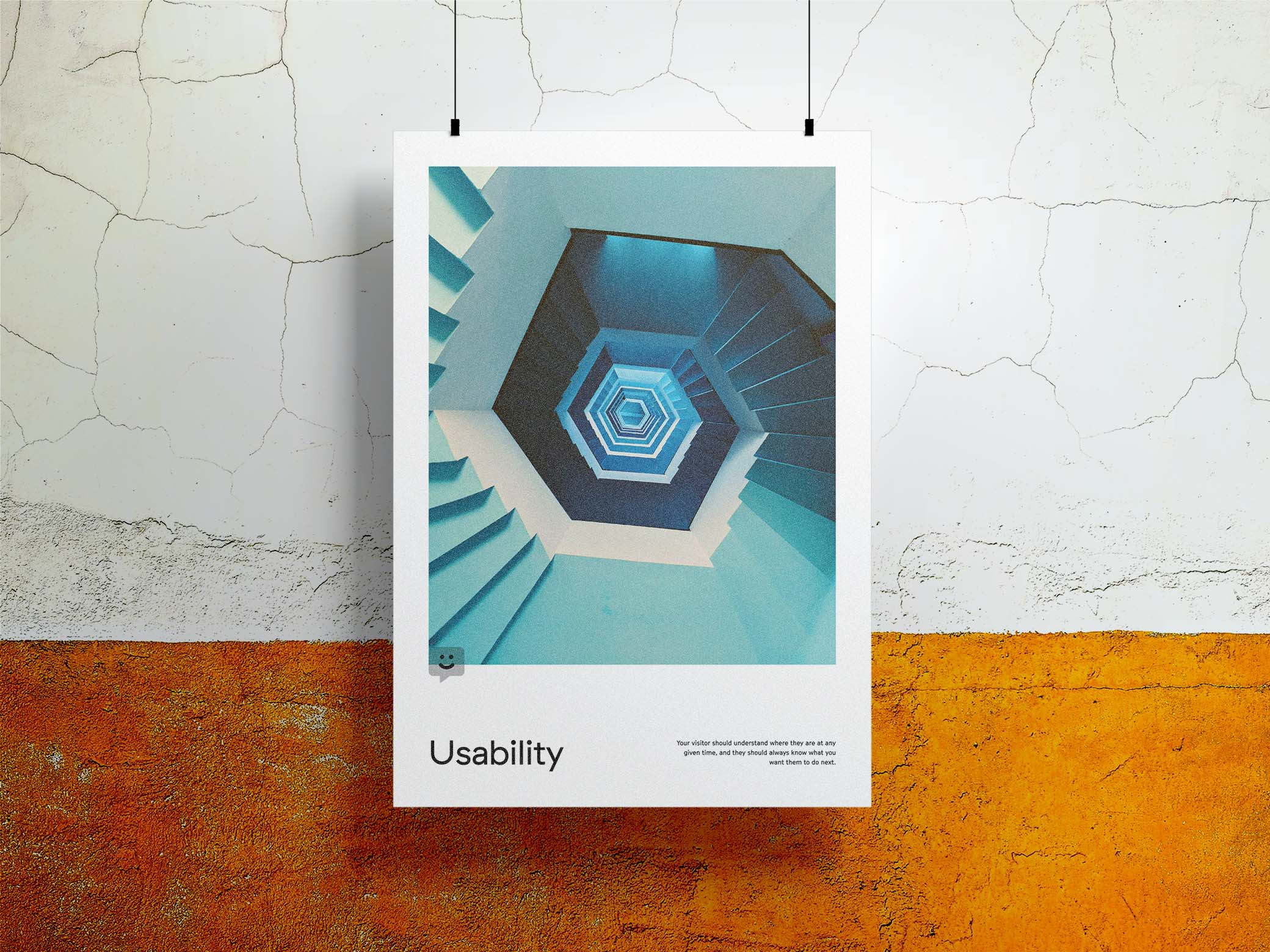 Usability poster with an image of a hexagonal staircase