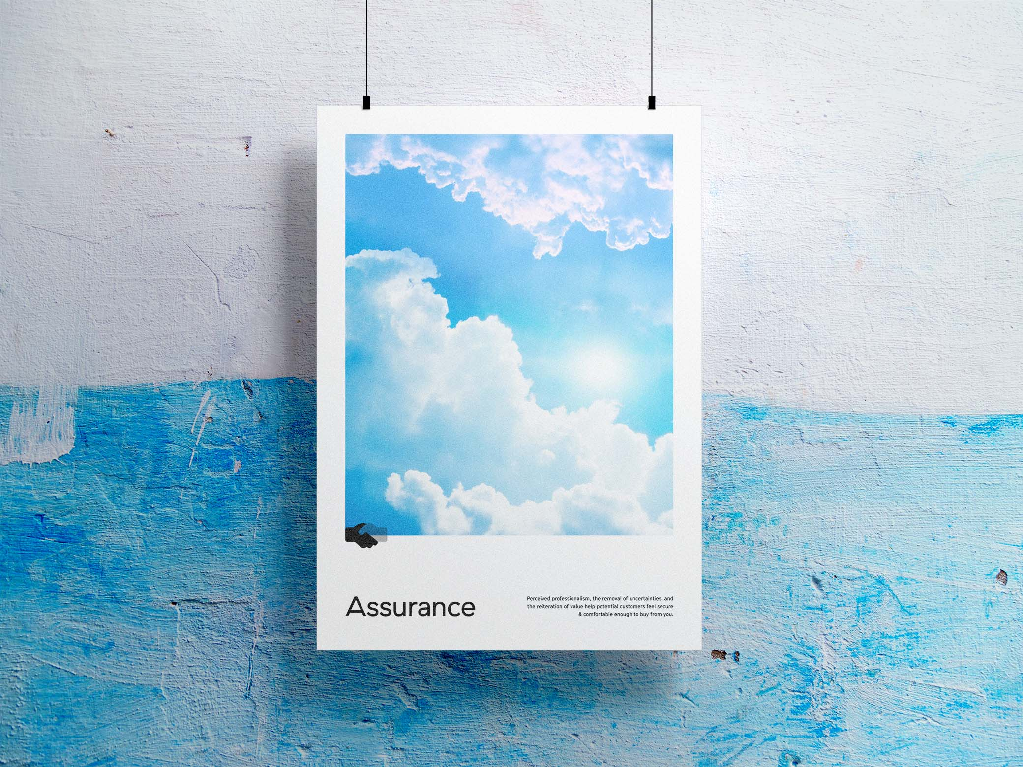Assurance poster with image of sun shining over white clouds on a blue sky