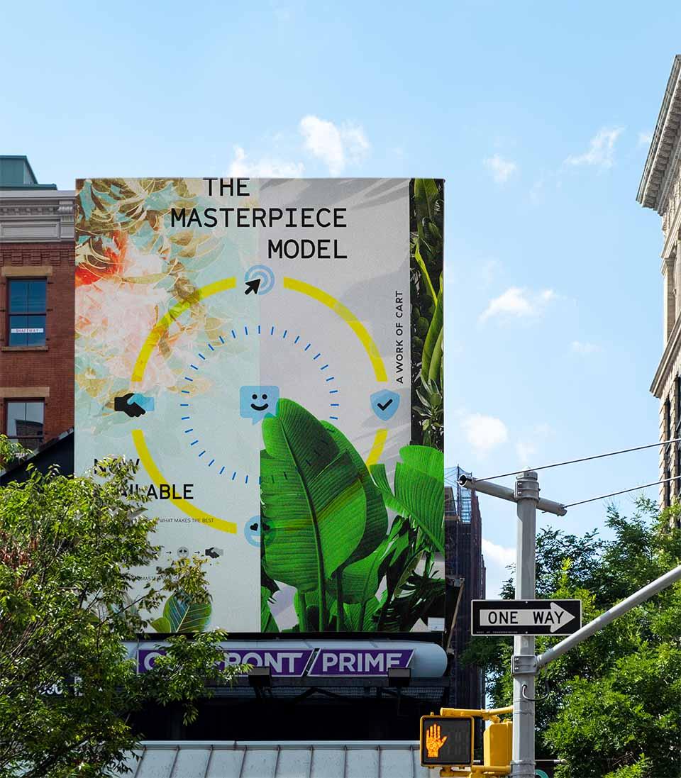The Masterpiece Model diagram on an outdoor billboard