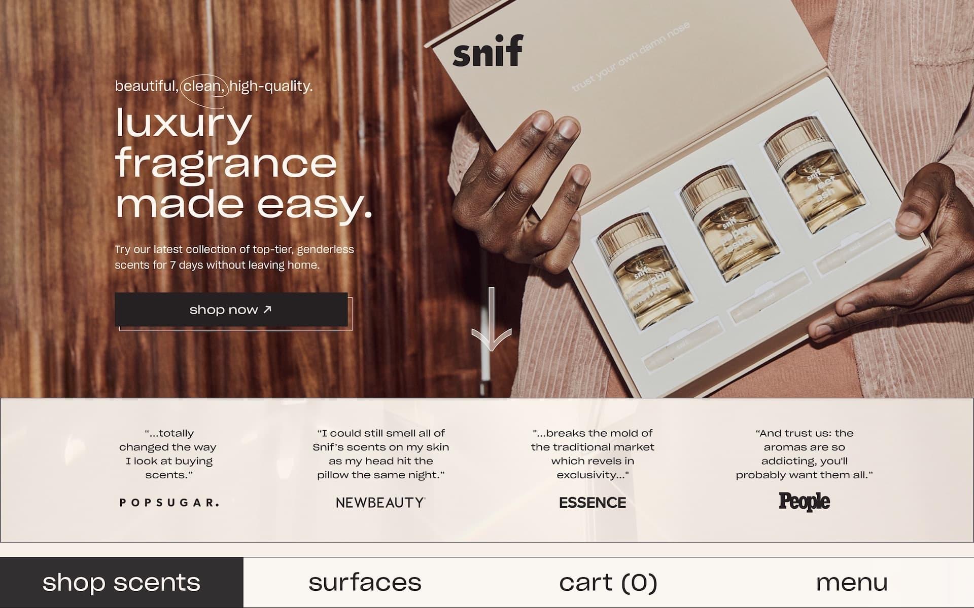 Snif Home Screen