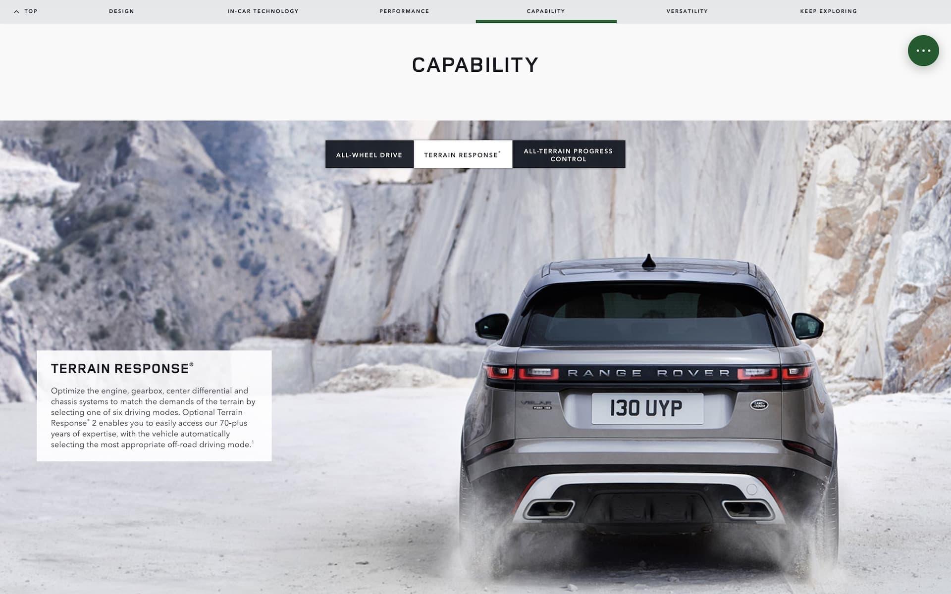 Range Rover Velar Webpage Screenshot