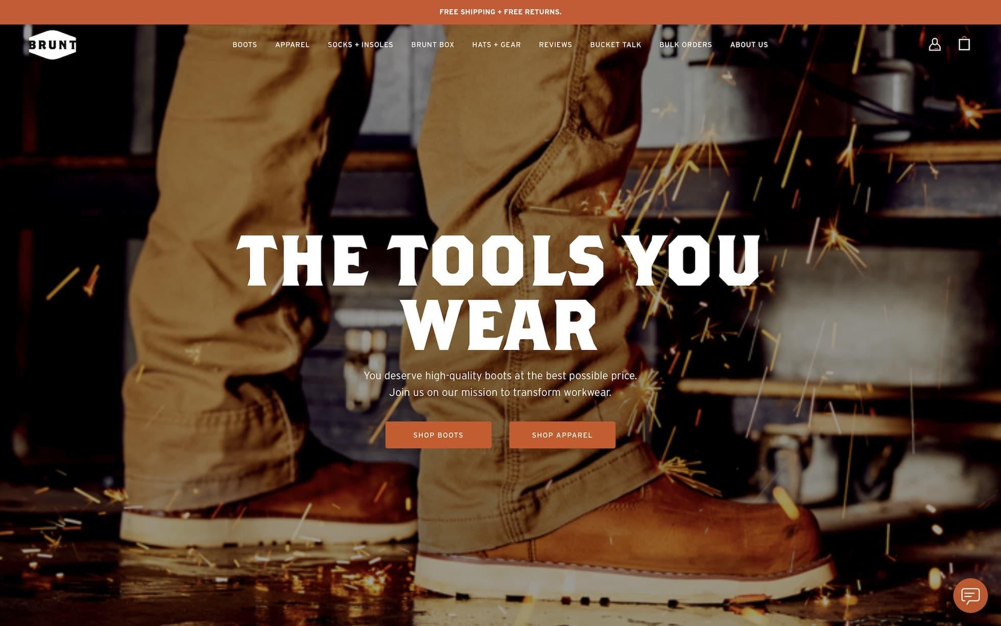 Brunt Workwear homepage screenshot