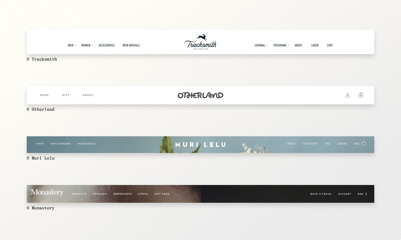 Website navigation examples from Tracksmith, Otherland, Muri Lelu, & Monastery