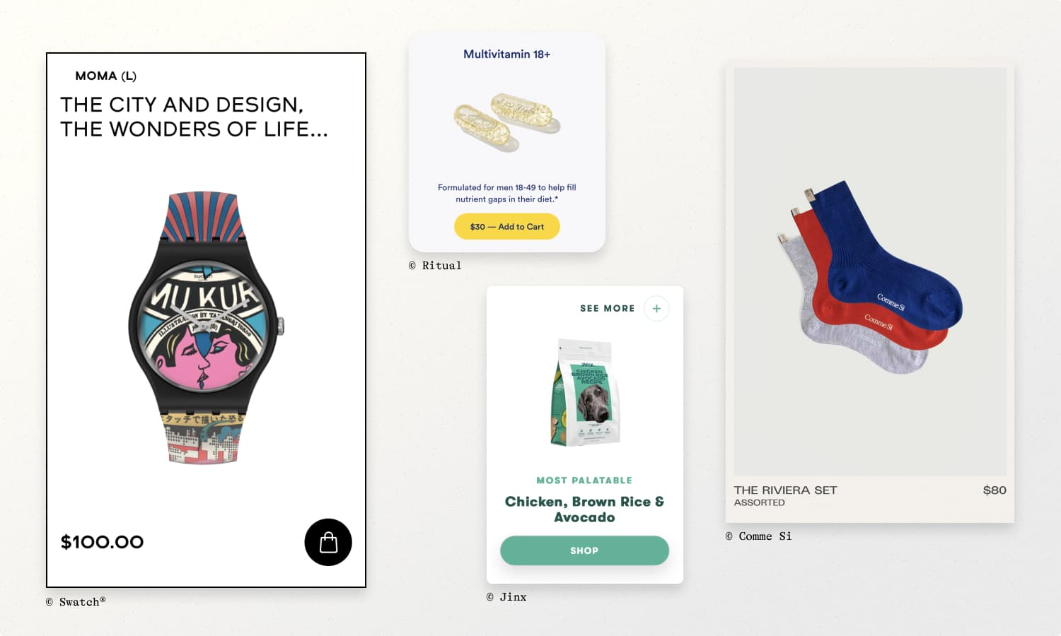 Product card examples from Swatch, Ritual, Jinx, & Comme Si