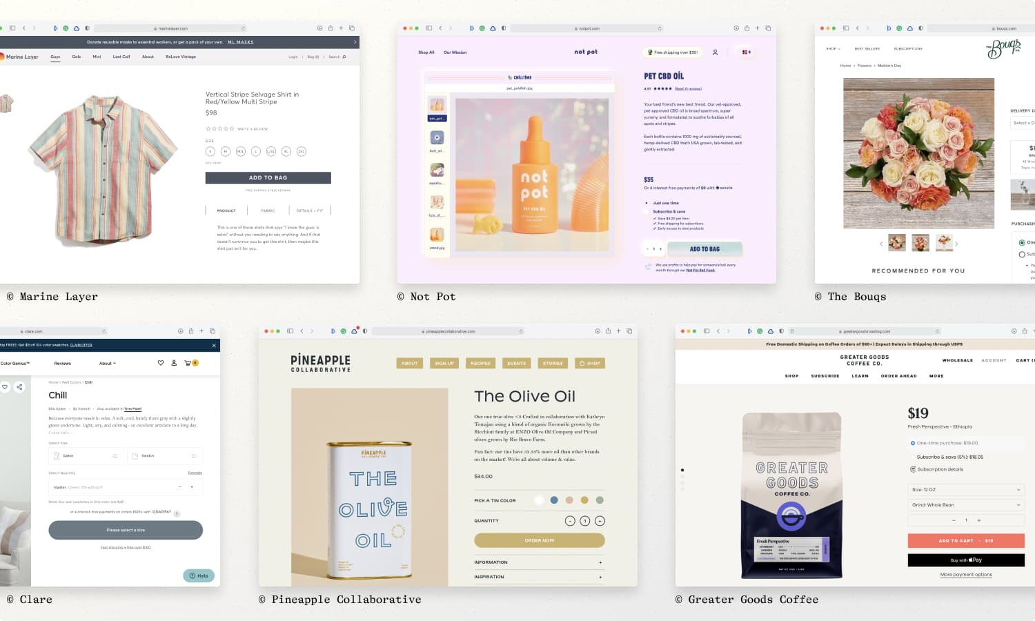 Product page examples from Marine Layer, Not Pot, The Bouqs, Greater Goods Coffee, Pineapple Collaborative, & Clare