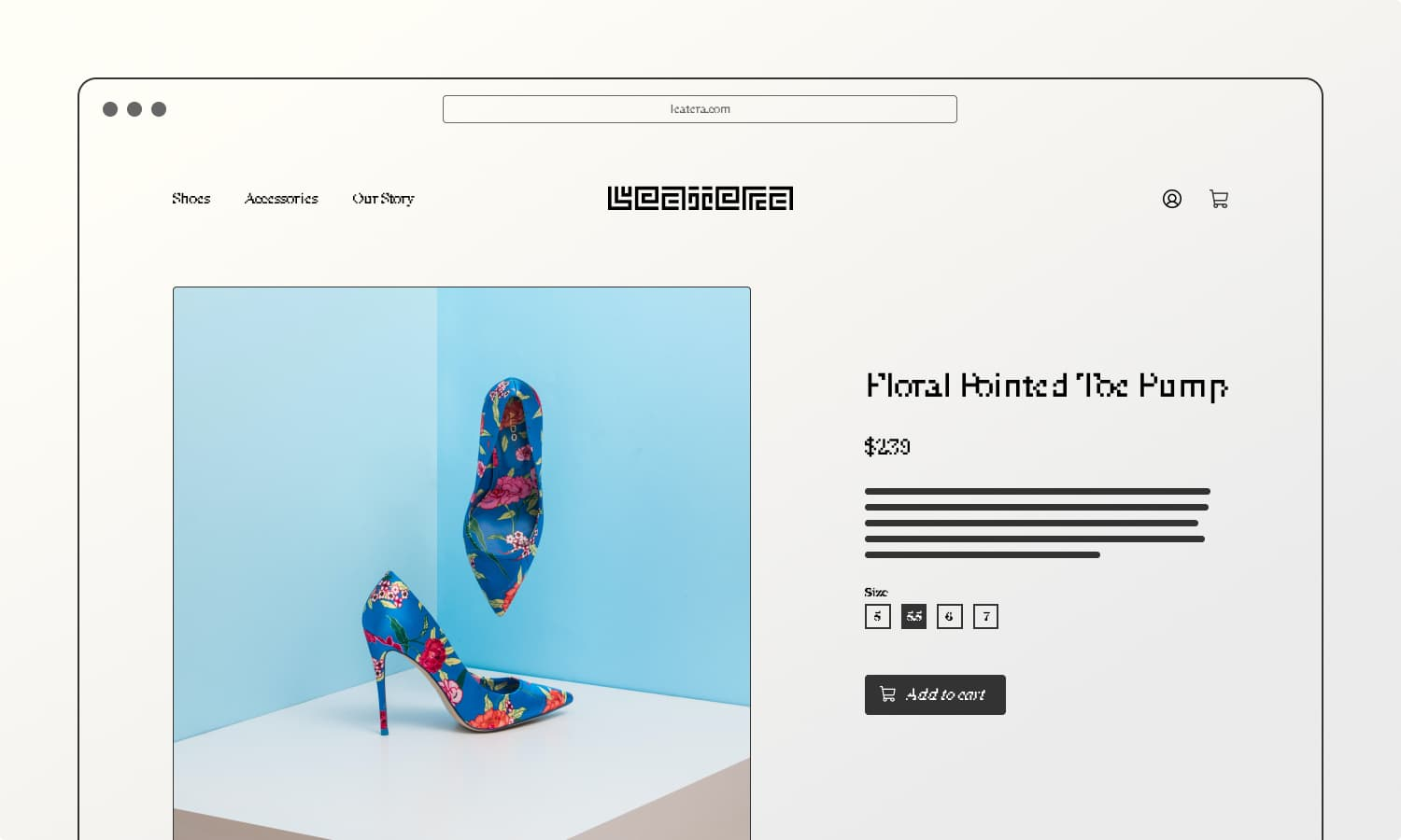 eCommerce product page wireframe with an image of floral blue high heel shoes