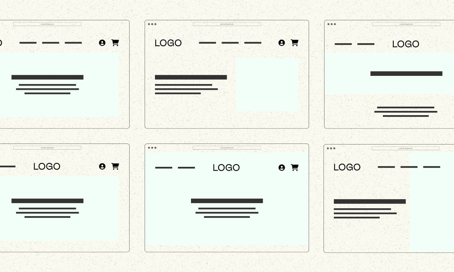 home page wireframes showing similarities between popular website layouts