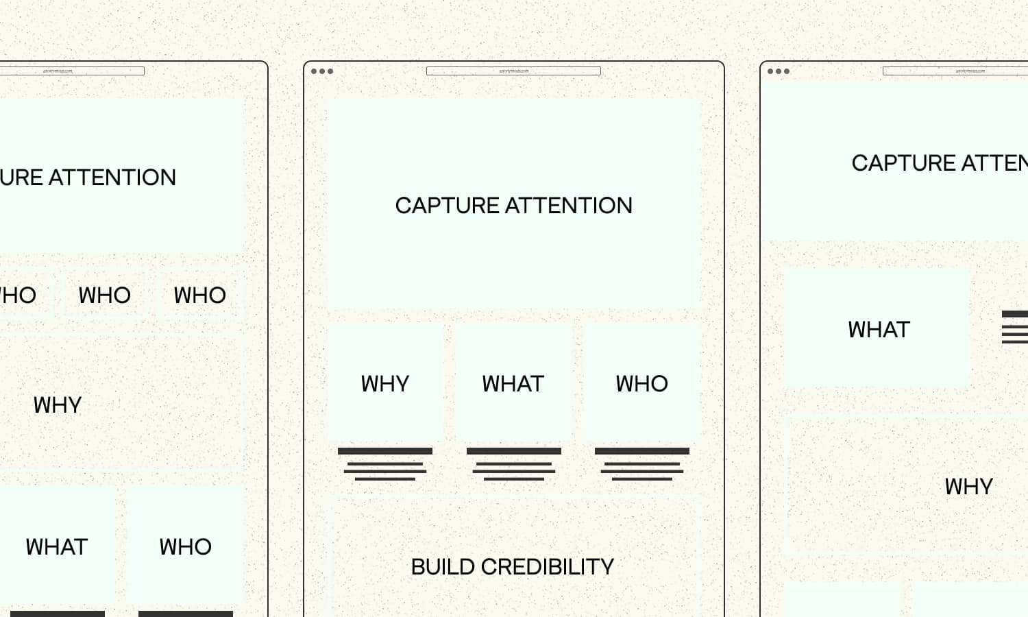 home page wireframes showing areas of the page where aspects of a story are told