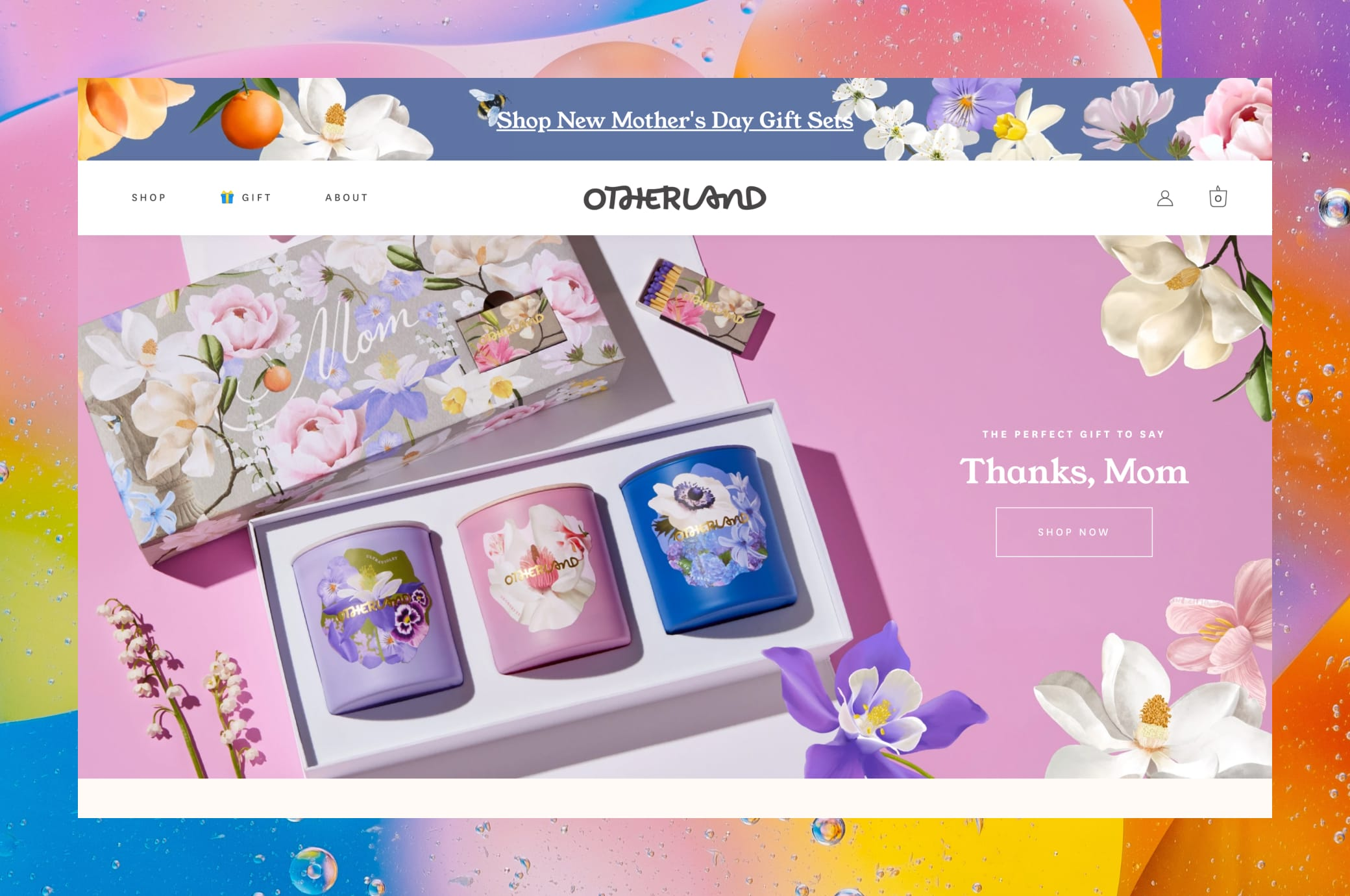 otherland.com home screen in browser window on colorful background