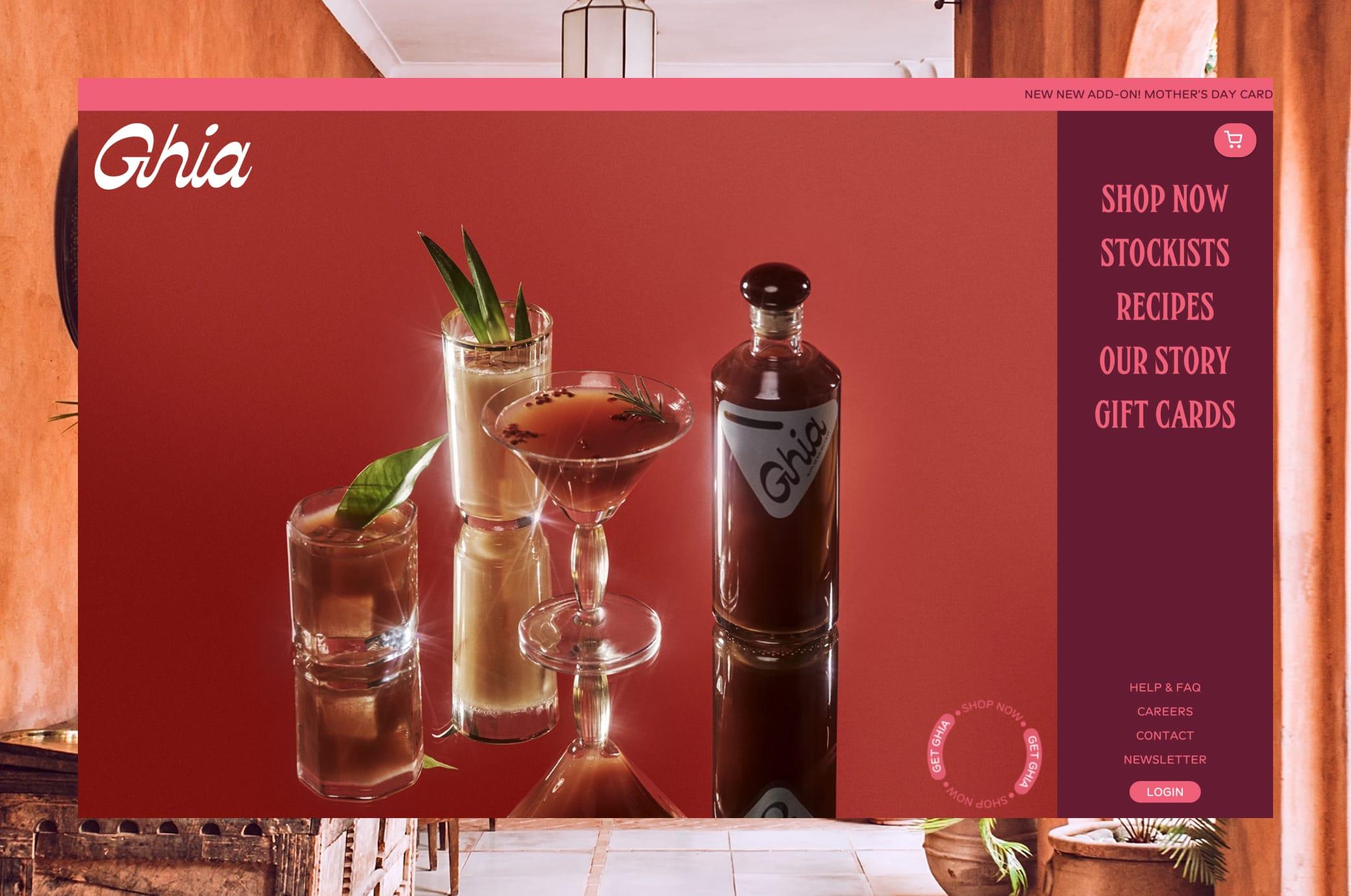 drinkghia.com home page screenshot in browser window
