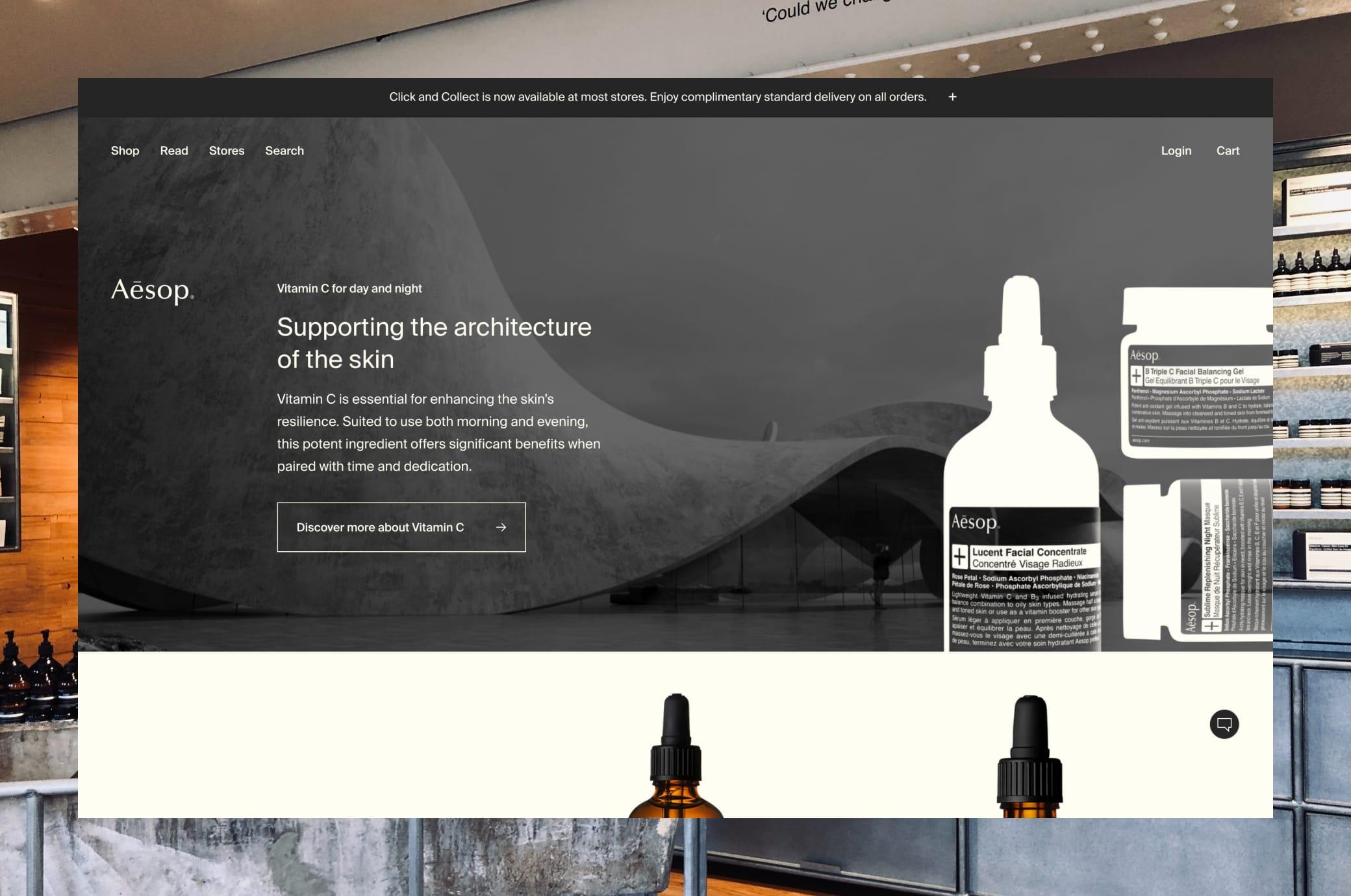 Aesop.com Home Page Screenshot