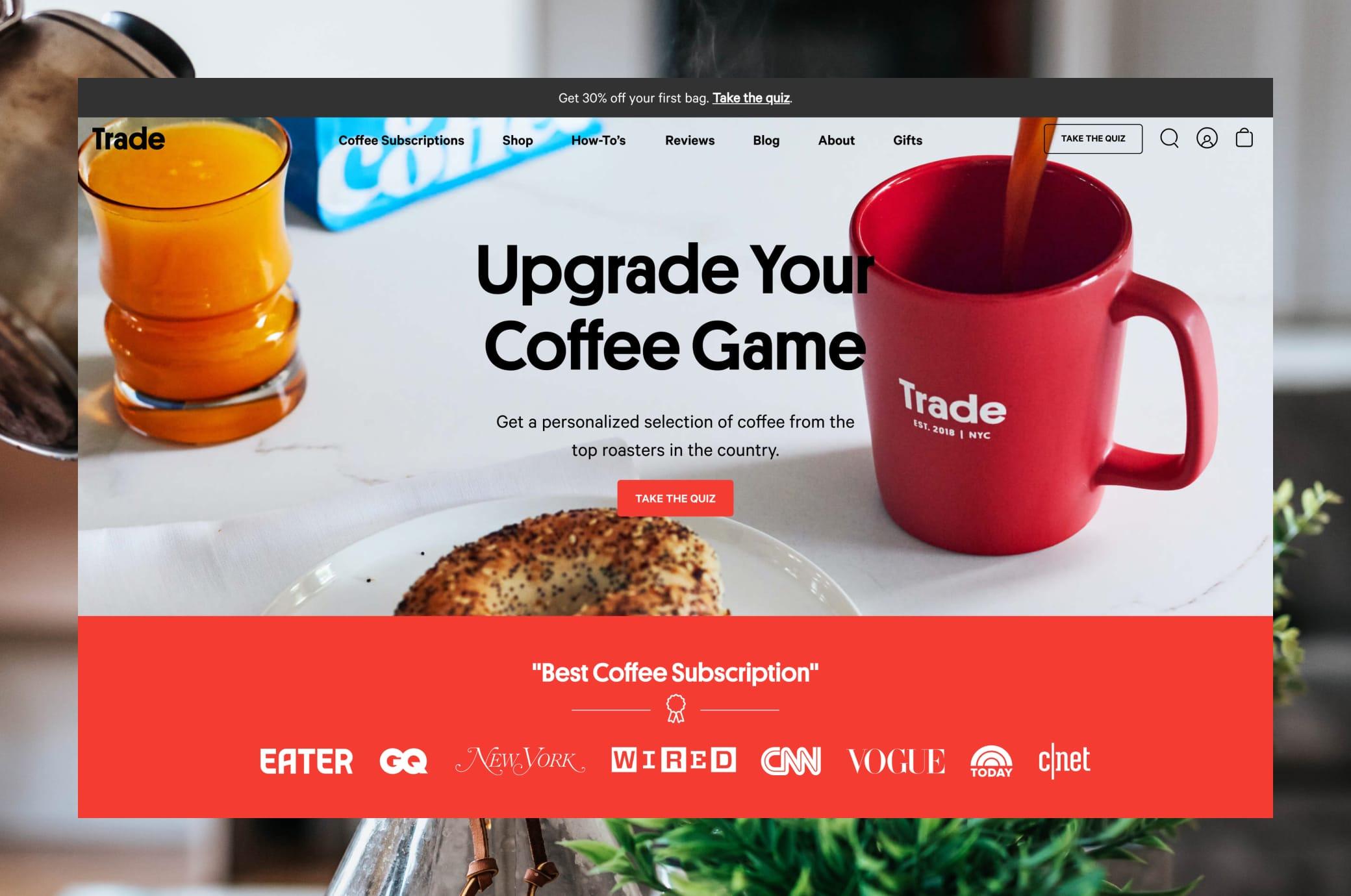 Drinktrade.com Home Screen