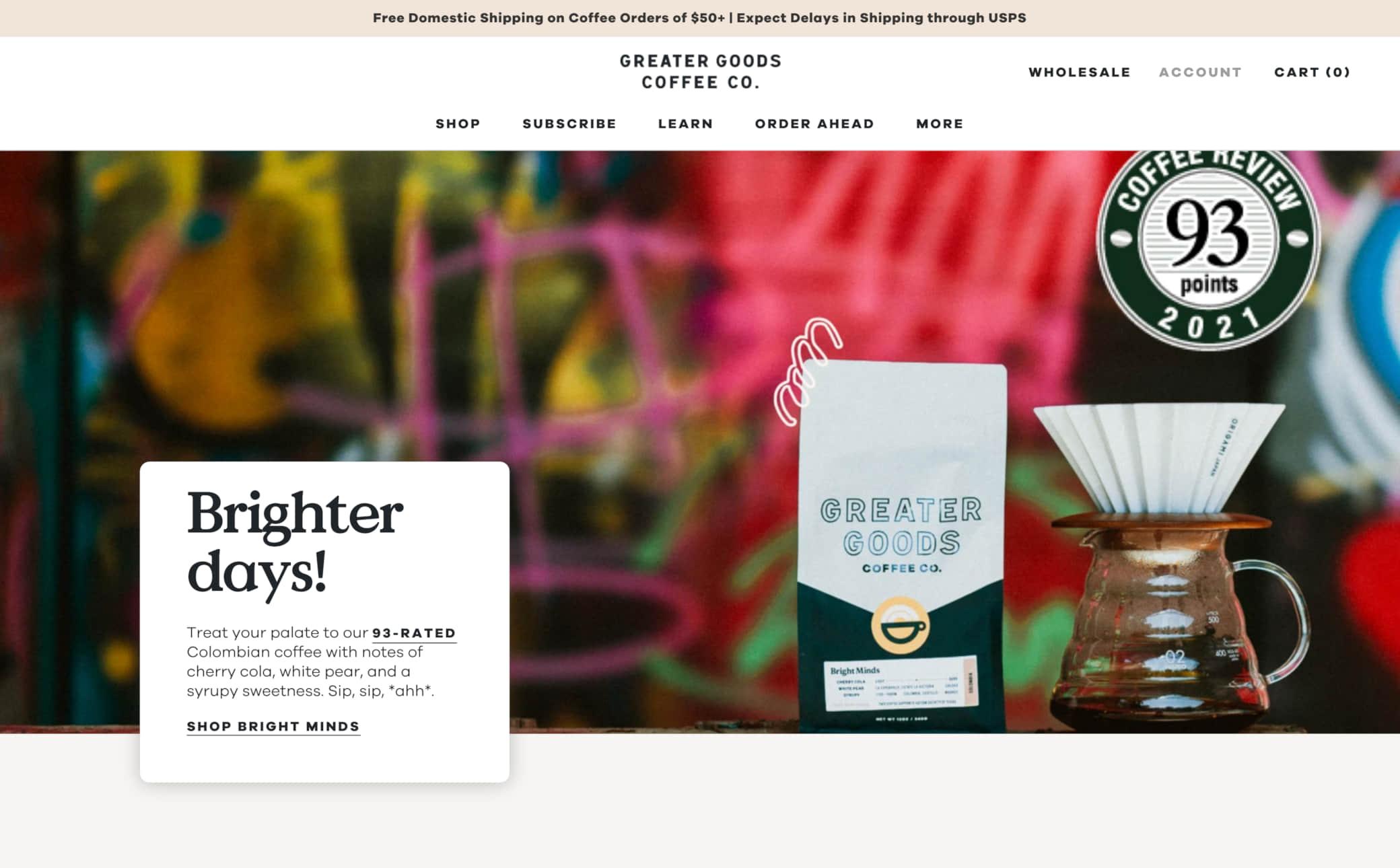 Greater Goods Coffee Screenshot Main