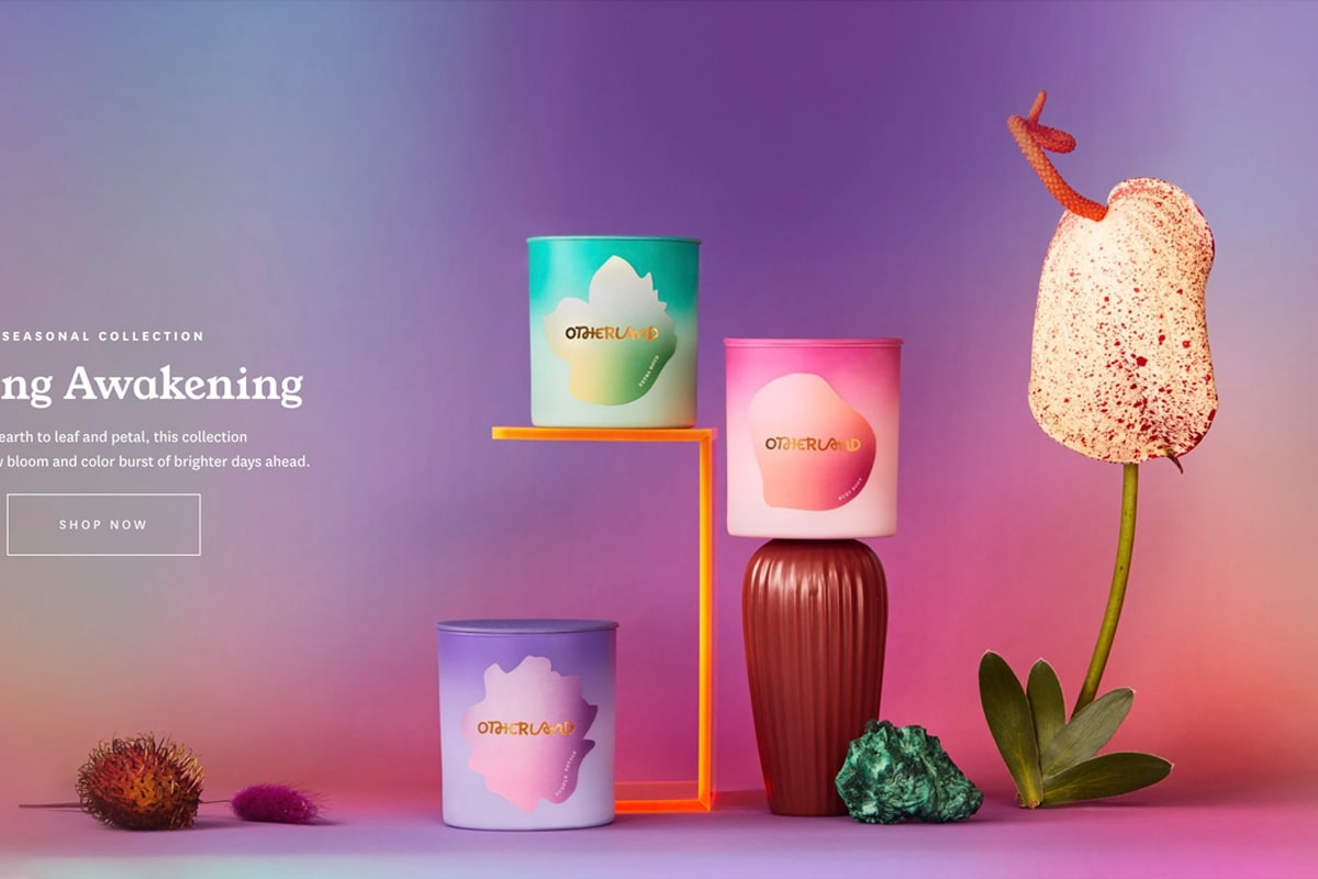 Otherland homepage hero section with bright purple and dark pink gradient background