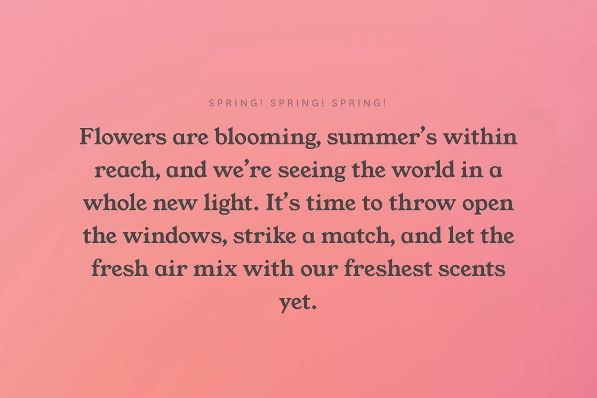 Screenshot of a short blurb about spring time on the Otherland website