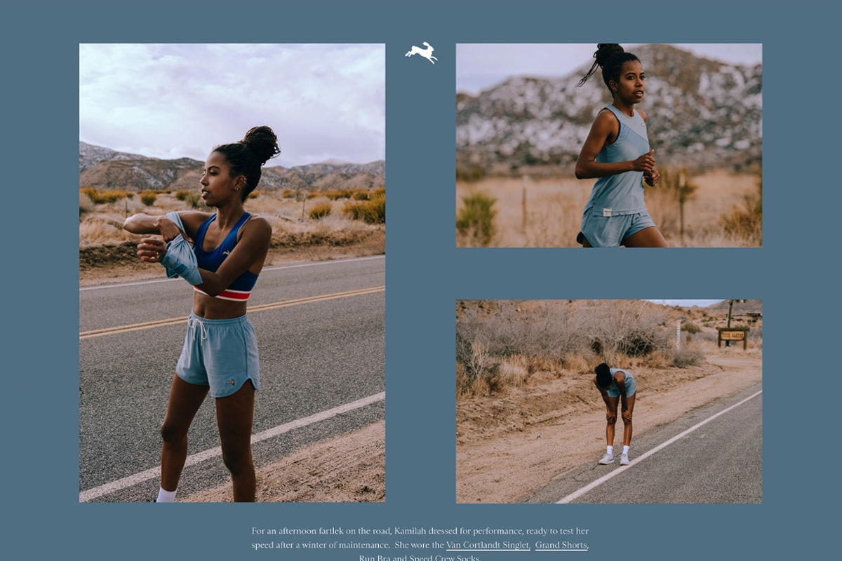 Screenshot of Tracksmith's Spring collection lookbook