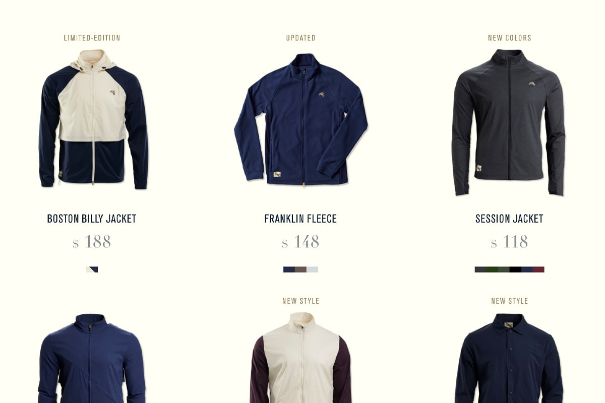 Screenshot of Tracksmith's category page showing an array of outerwear for running