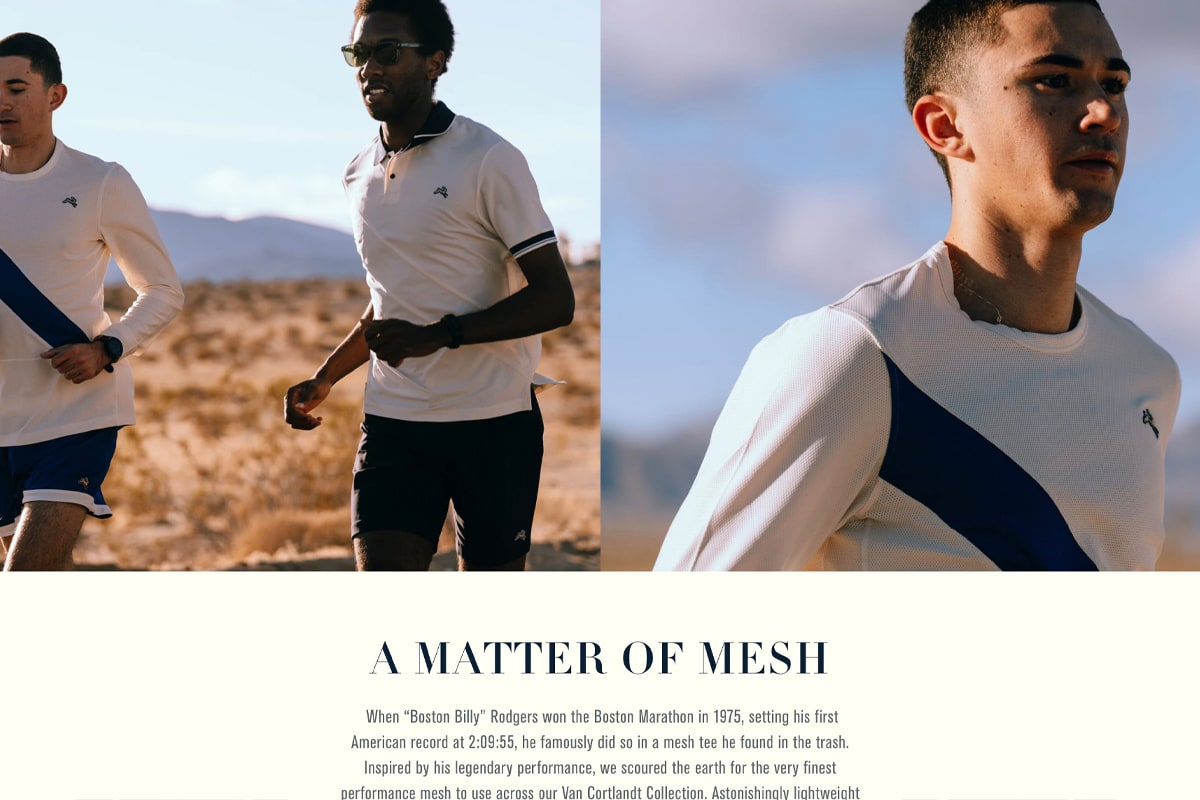 Screenshot of Tracksmith's product page imagery showing two men running in a desert