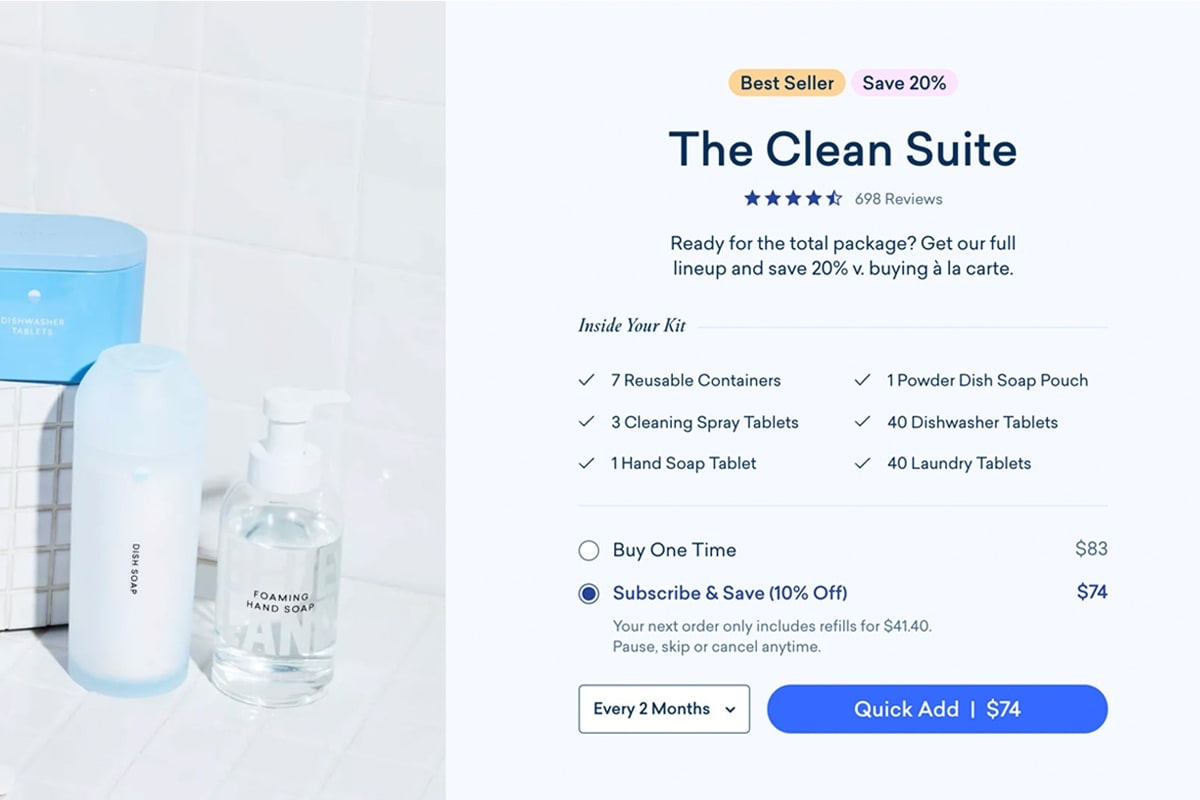 Screenshot of Blueland's complete product bundle on their homepage
