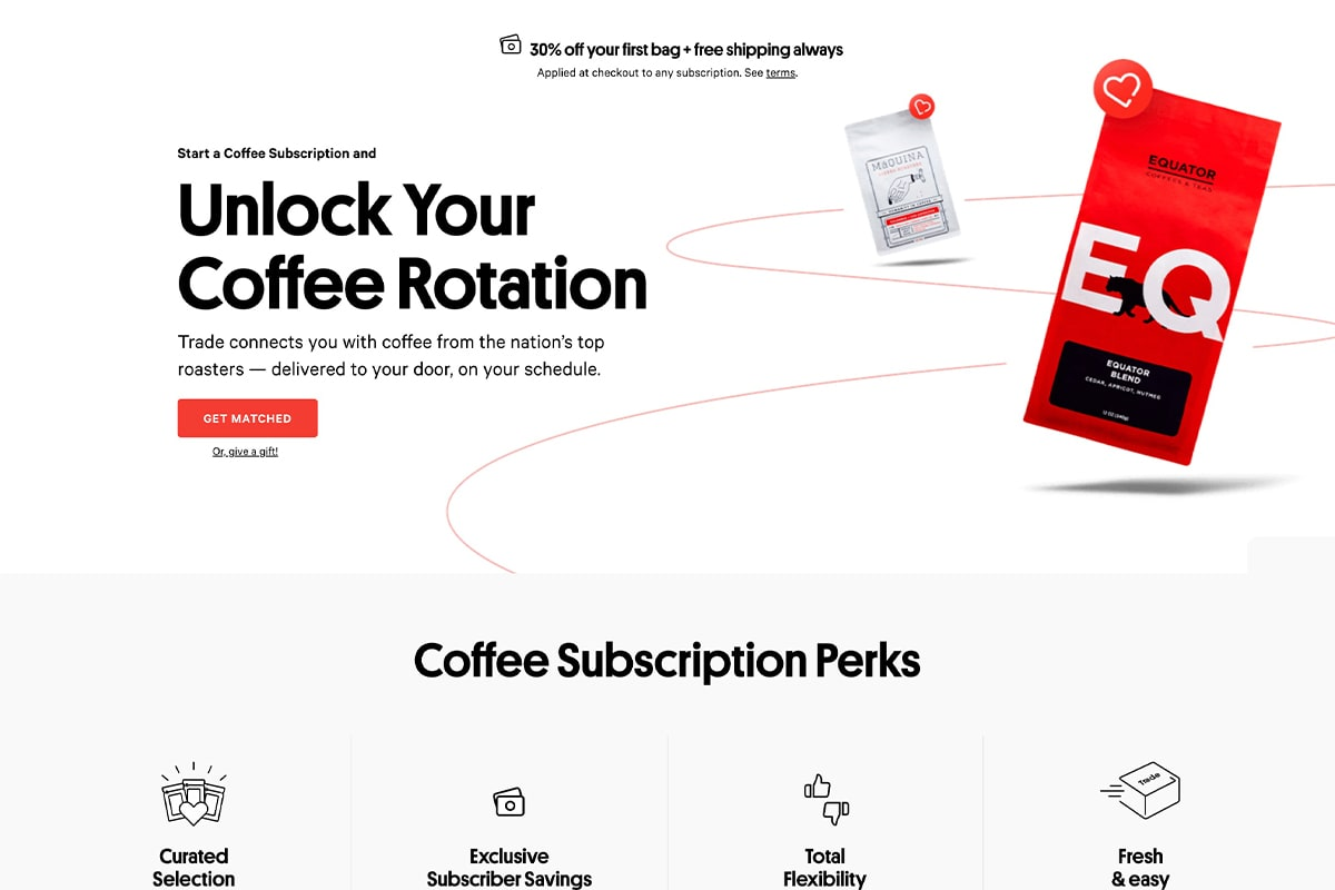 Trade Coffee subscription page hero section showing the benefits of their coffee subscription service