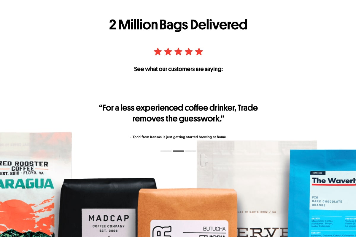 """Trade Coffee testimonials showing a group of coffee bags and a headline reading """"2 million bags delivered"""""""