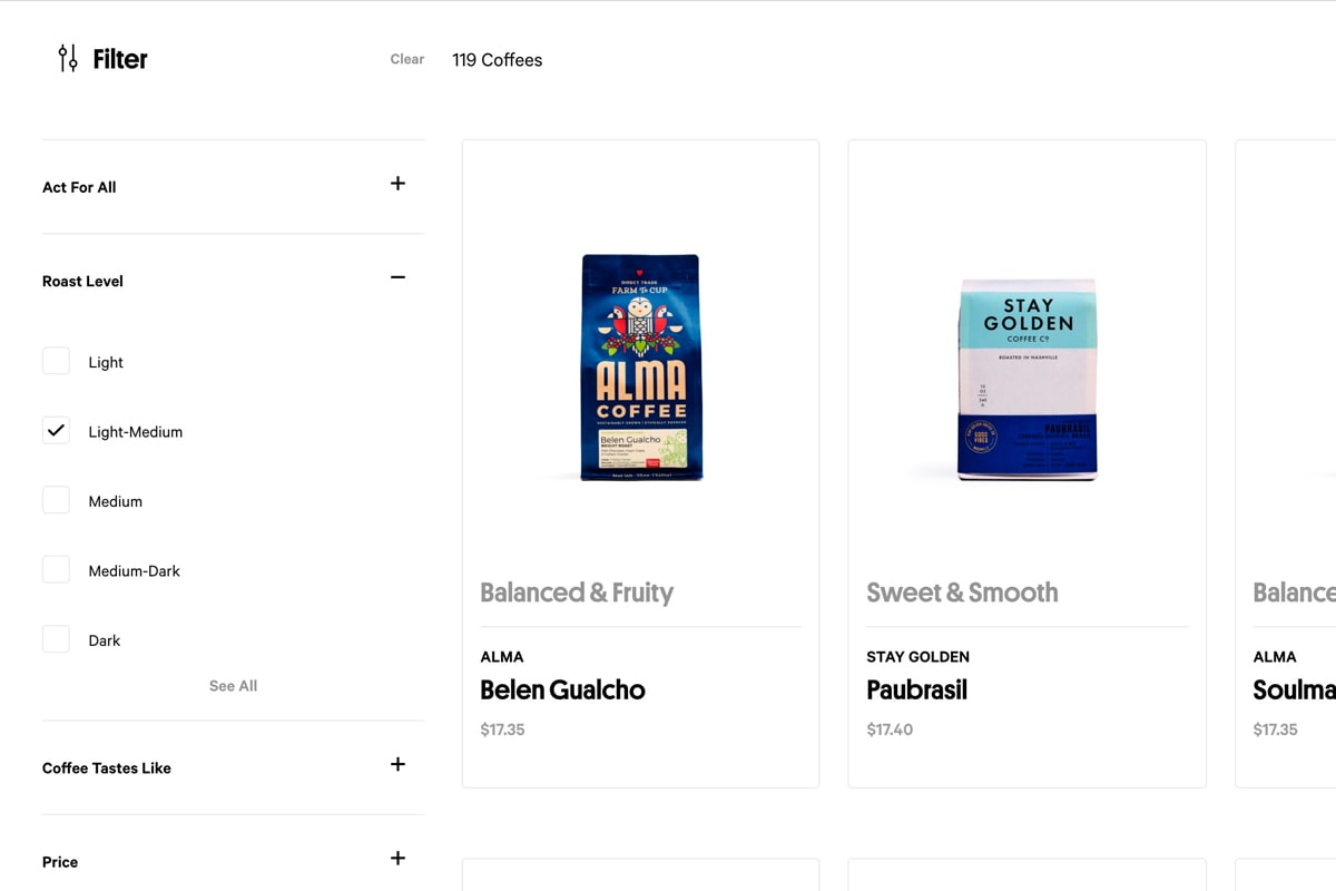 Screenshot of Trade Coffee's category page with helpful product filters