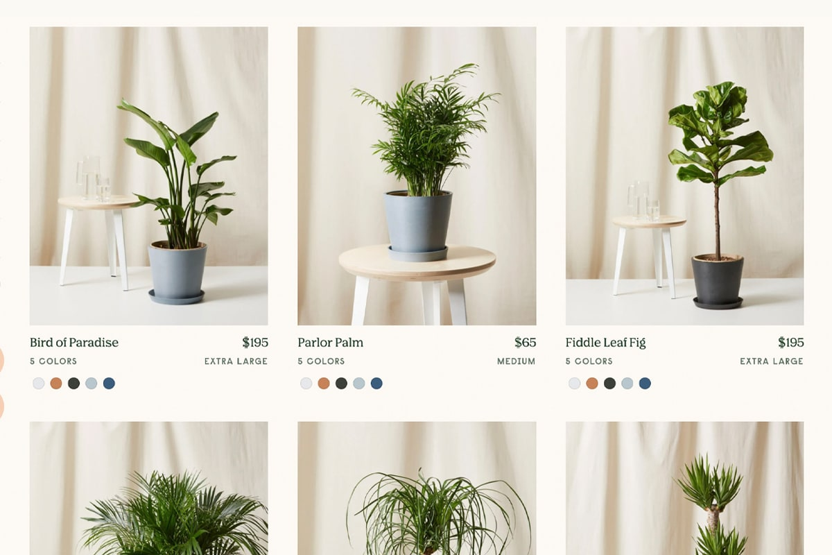Screenshot of Plants page, showing an array of product photos
