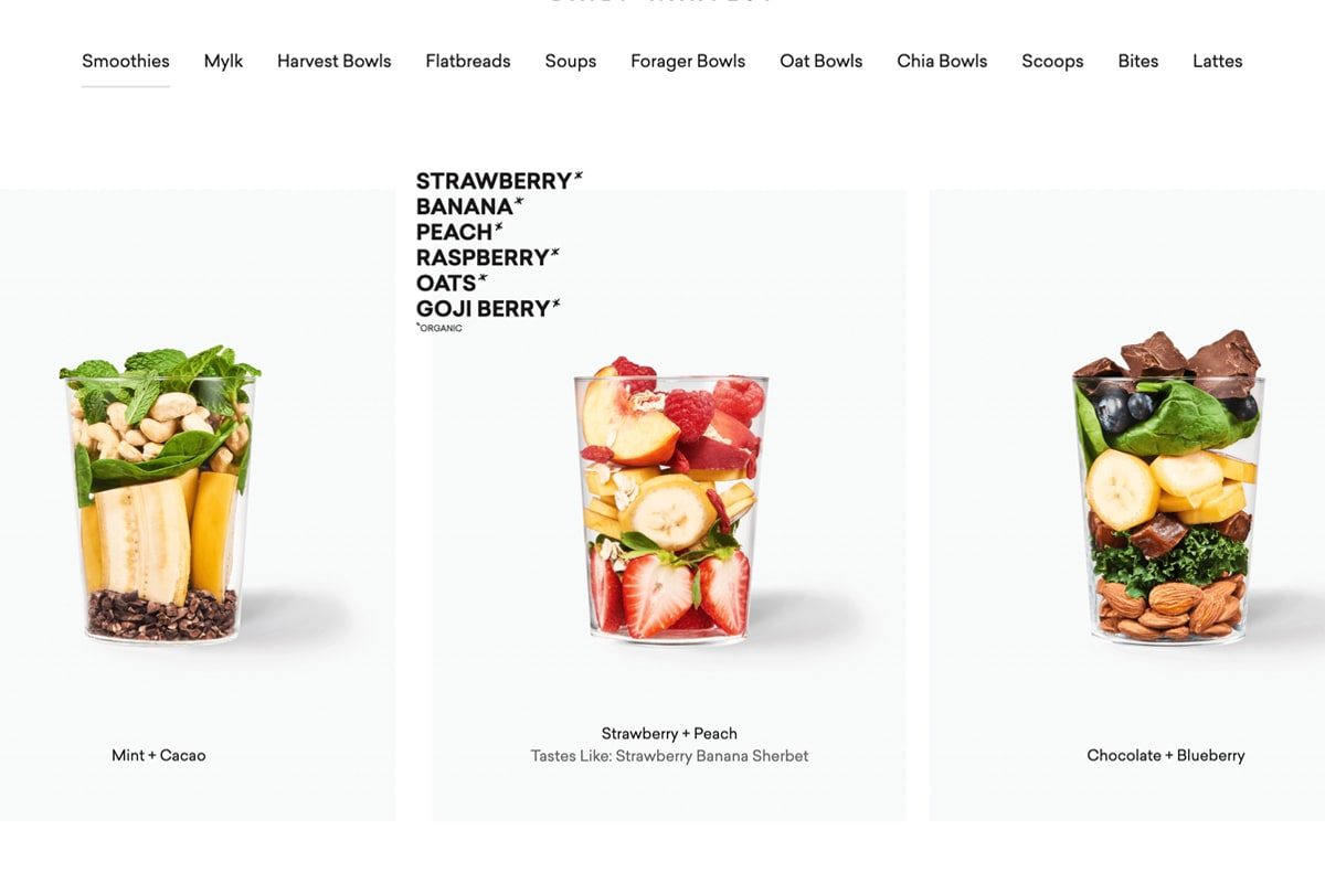 Daily Harvest smoothie product photos showing ingredients list as hover state