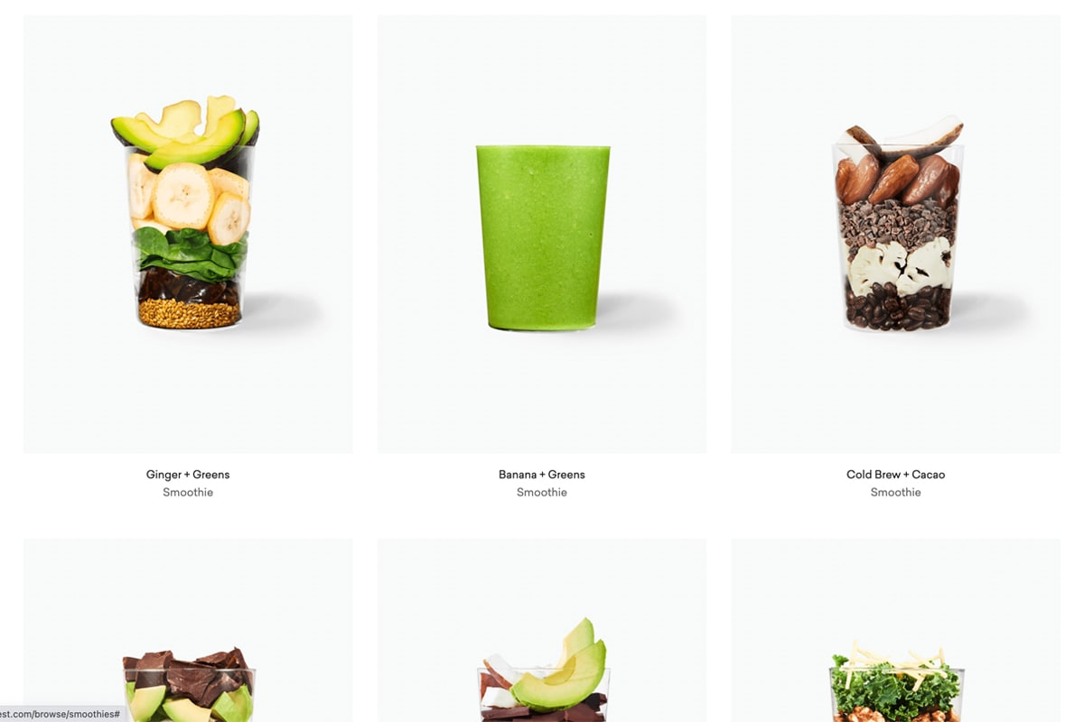 Daily Harvest smoothie product photos showing raw ingredients in glasses