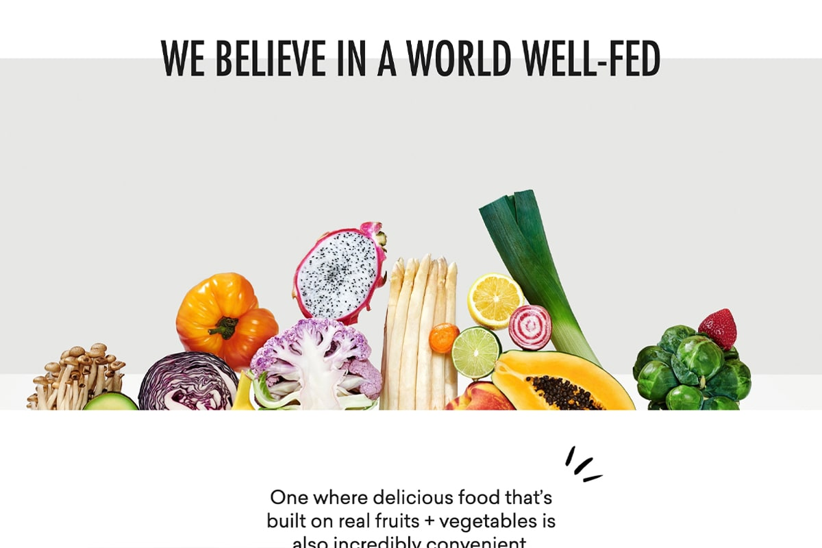"""Daily Harvest mission """"We believe in a world well-fed"""""""