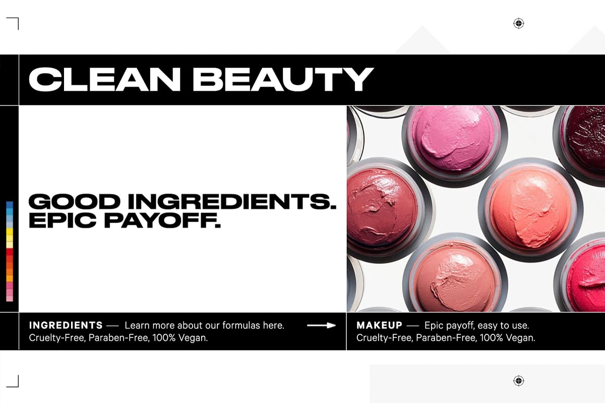 """Milk Makeup's """"Clean Beauty"""" section, highlighting their commitment to clean ingredients"""