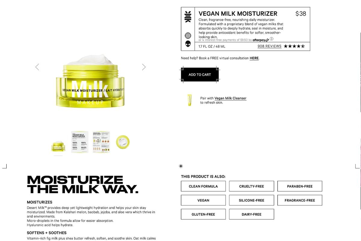 Screenshot of Milk Makeup's Vegan Milk Moisturizer product page