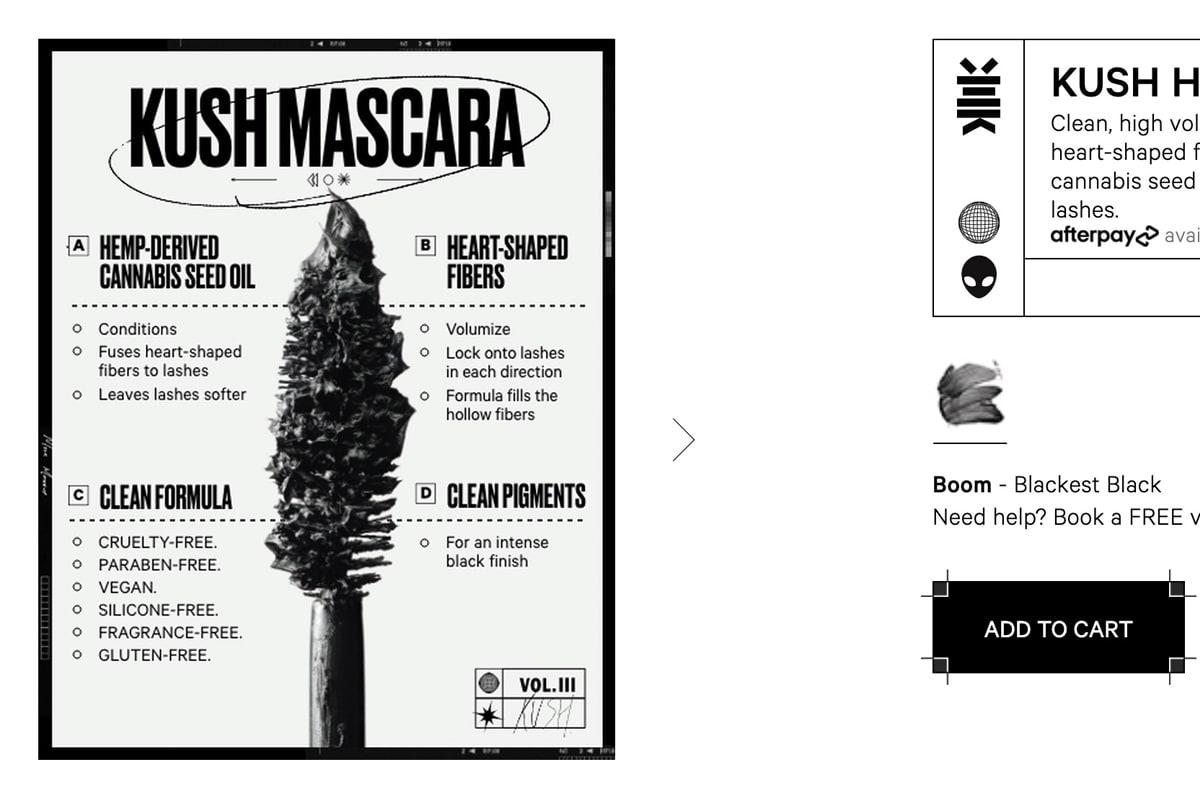 Milk Makeup's Kush Mascara product infographic showing the ingredients