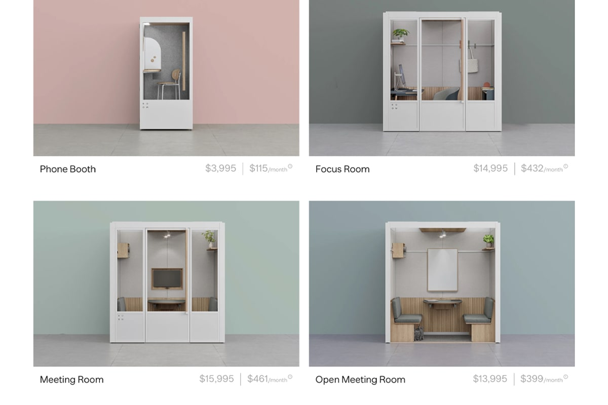 Room product photos showing their range of phone booths and meeting rooms