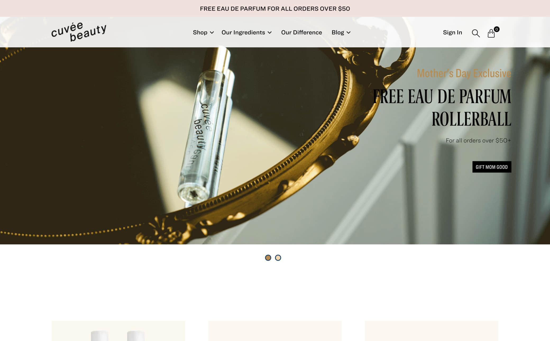 Cuvée Beauty Screenshot Main