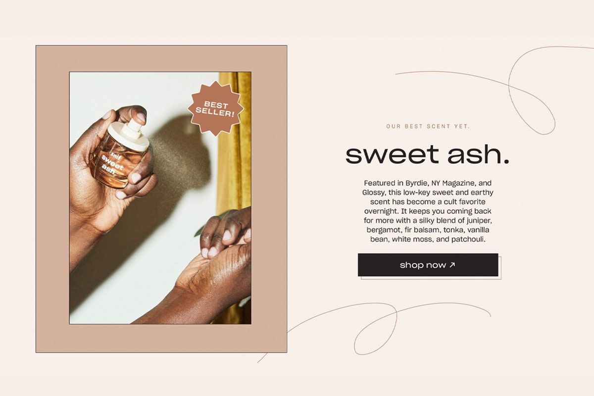 Featured product section from the Snif website, showing their top fragrance named sweet ash