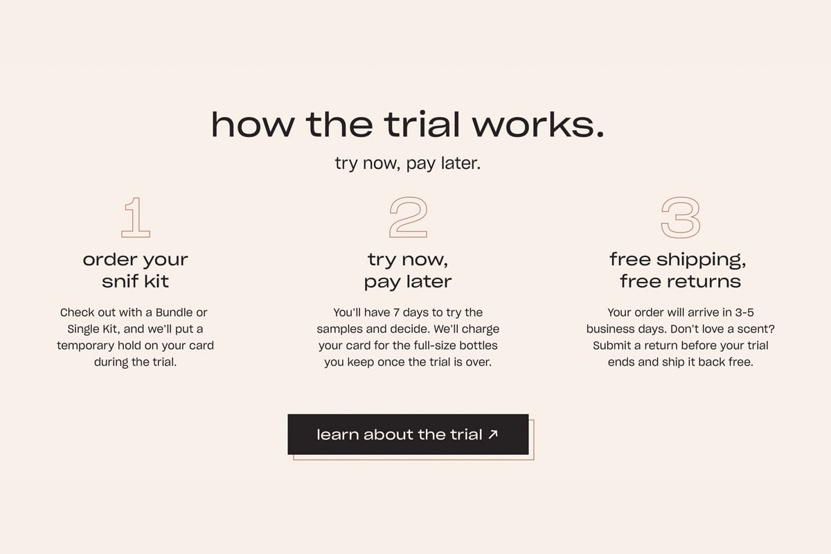 Screenshot how Snif's free trial works