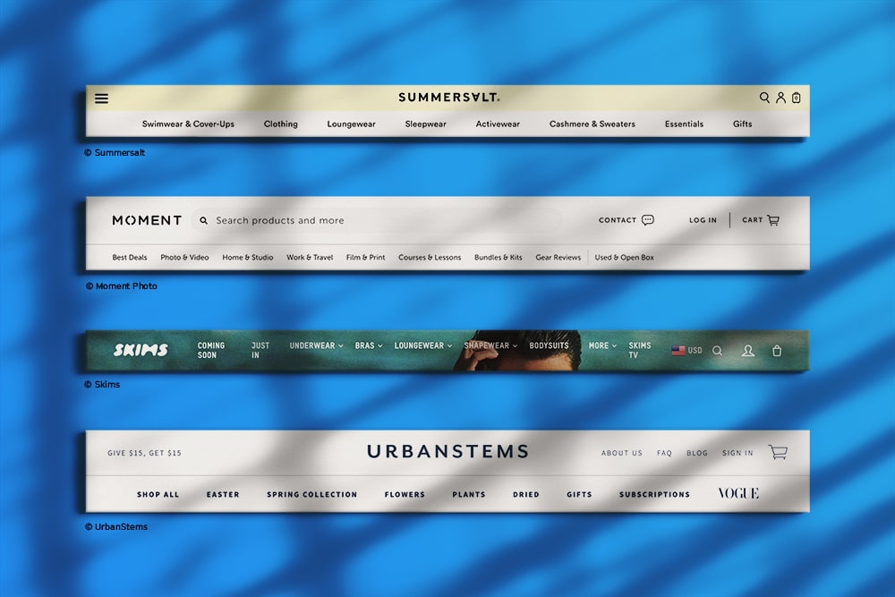 Navigation menus from Summersalt, Zee.Dog, Skims, Moment Photo, & UrbanStems that show helpfully descriptive menu options