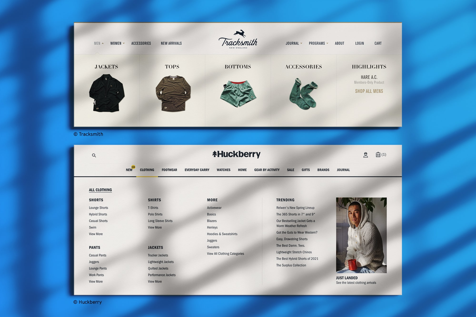 Navigation menus from Tracksmith & Huckberry that show all product categories and images of products to help guide visitors to what they're looking for