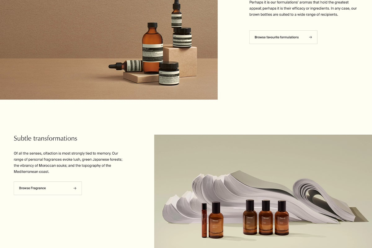 Screenshot showing lifestyle product imagery on Aesop's website
