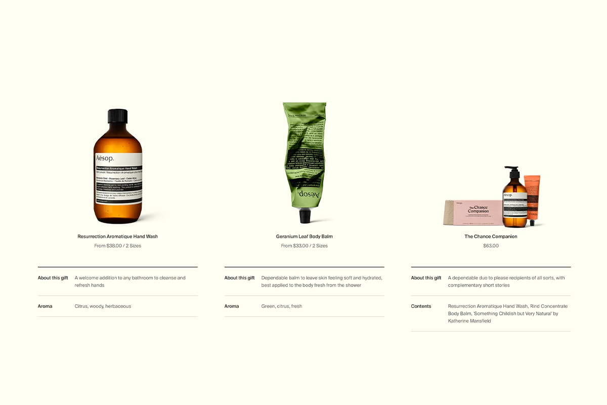 Screenshot of Aesop's product cards
