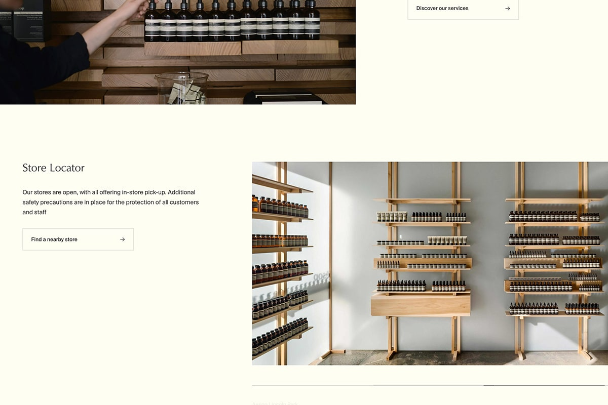 Screenshot of Aesop's store locator with photos of physical location interior design