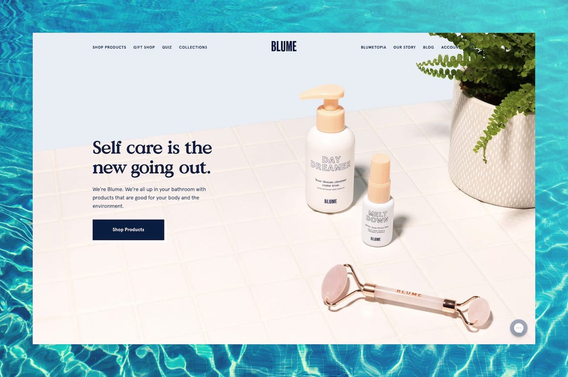 Blume Products Home Page Screenshot