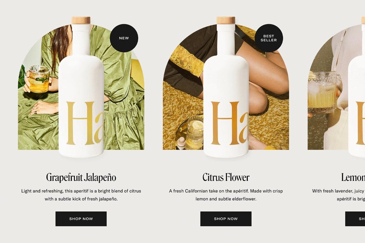 Screenshot of Haus's product photos that use an image in the background to complement the product packaging