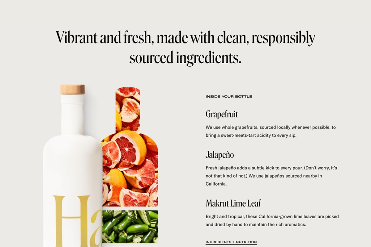Screenshot of a visual representation of the ingredients in Haus products